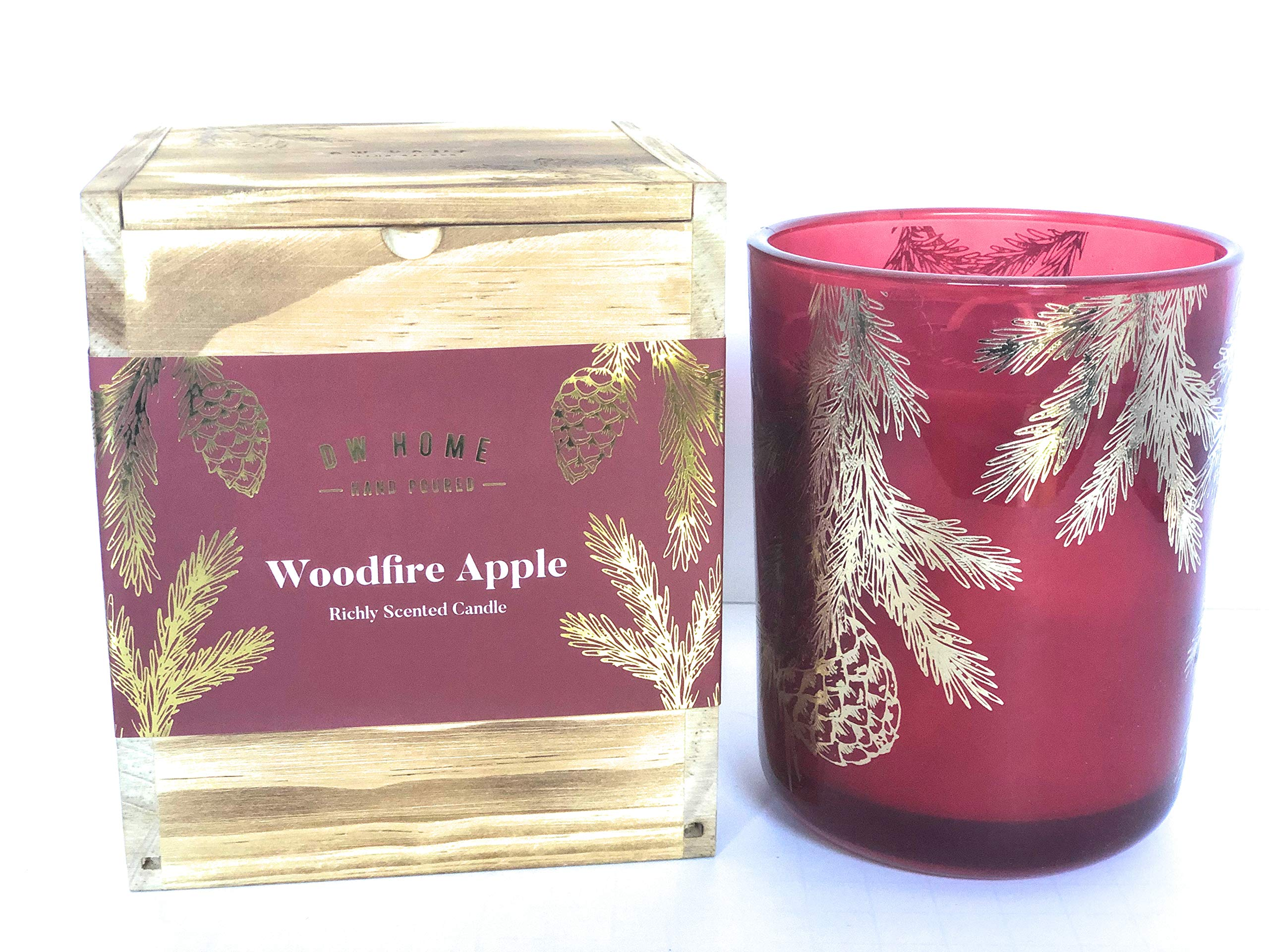 DW Home Woodfire Apple Double Wick Hand Poured Richly Scented Candle in Wooden Gift Box 15 Oz
