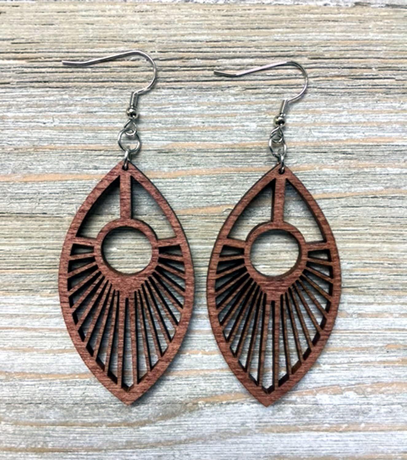 Wood Peacock Feather Earrings from Solid Mahogany Stained Maple
