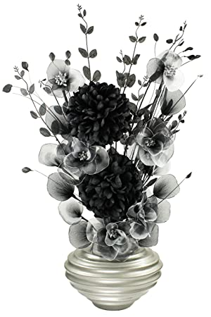 Dark grey vase with black and white artificial flowers ornaments dark grey vase with black and white artificial flowers ornaments for living room window sill home accessories 75cm amazon kitchen home mightylinksfo