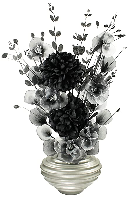 Dark Grey Vase With Black And White Artificial Flowers Ornaments