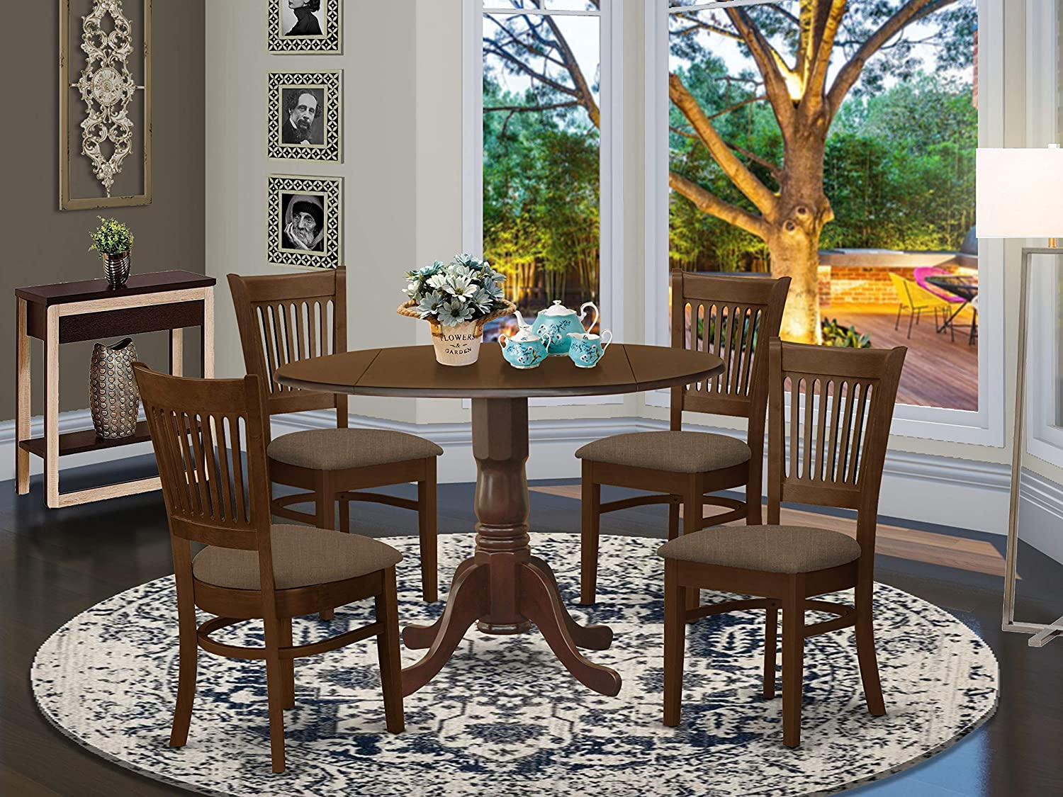 Amazon Com East West Furniture Dlva5 Esp C 5 Pc Kitchen Dining Table Set Espresso Finish Two 9 Inch Drops Leave And Pedestal Legs Small 4 Slatted Back Wooden Chairs