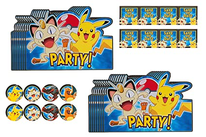 amazon com pokémon party invitations 16 ct toys games