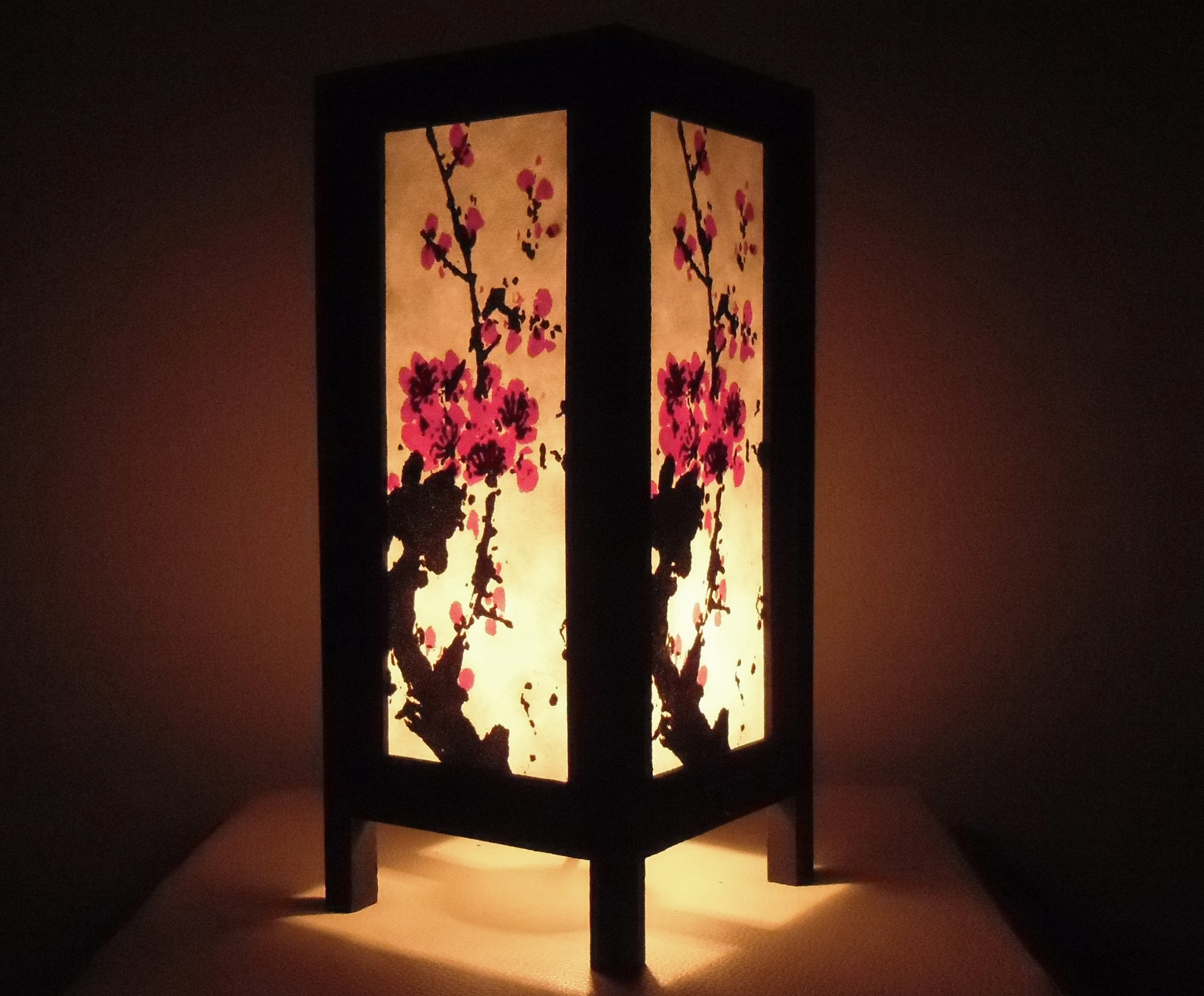 Thai Vintage Handmade Asian Oriental Art Mei flowers Style accessories Bedside Table Light or Floor Wood Paper Lanna Lamp Shades Home Bedroom Decor / Garden Decorative Modern Design from Thailand by Red berry Thailand Lanna Lamp