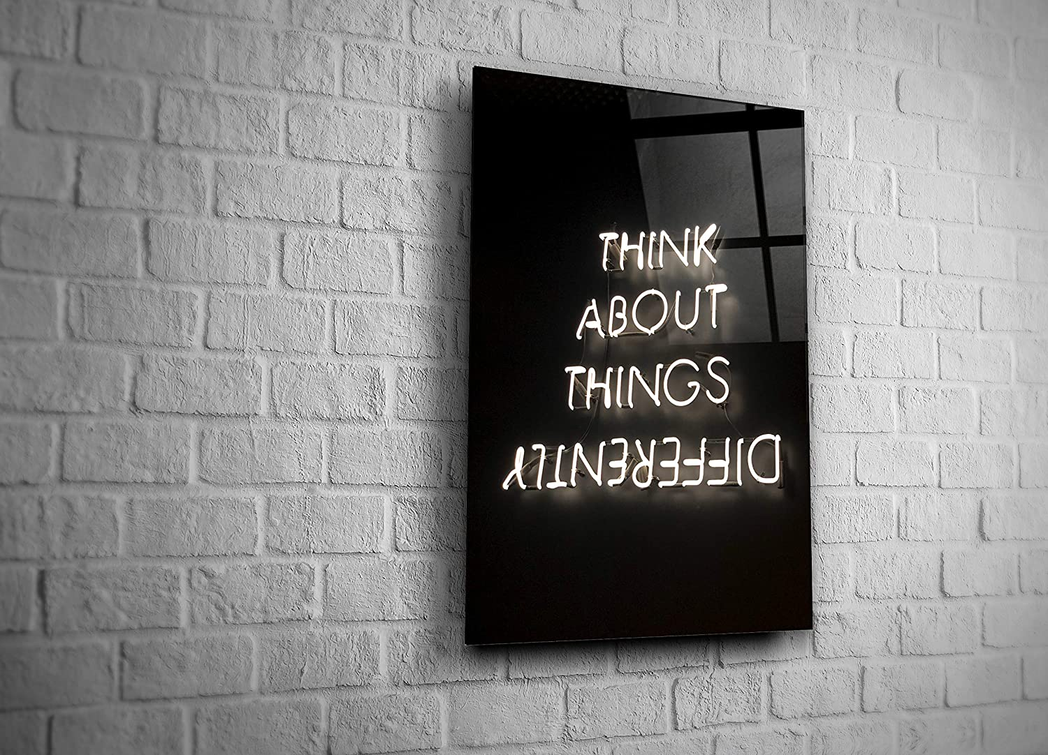 Genericc Neon Sign Think About Things Differently Tempered Glass Wall Art Home Decor Present Office Decor Teenager Room Decor Bar Decor Modern Art Gift (16x24)