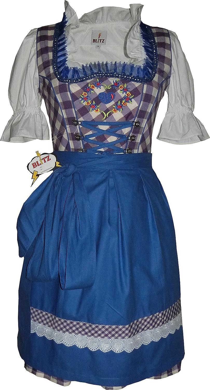 Blitz BT23 Dirndl 3 tlg. Trachtenkleid Kleid, Bluse, Schürze, ca. 90cm Größe: 34 bis 42 , Lila&Weiß&Blau