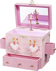 "Enchantmints Ballerina Musical Jewelry Box, ""Swan Lake"" Ballerinas, 4 Drawers"