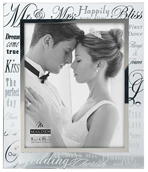 malden international designs mirrored glass with silver metal inner border mr and mrs picture - Mr And Mrs Photo Frame