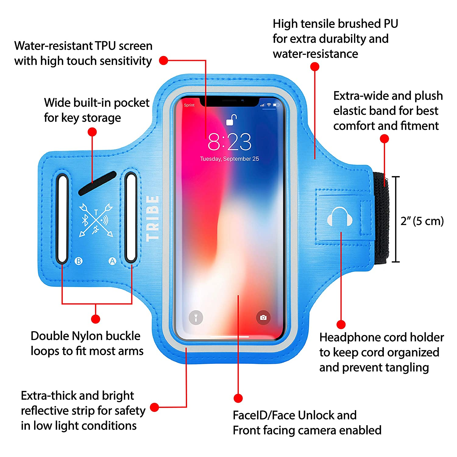 TRIBE Water Resistant Cell Phone Armband Case for iPhone X, Xs, 8, 7, 6, 6S  Samsung Galaxy S9, S8, S7, S6, A8 with Adjustable Elastic Band & Key