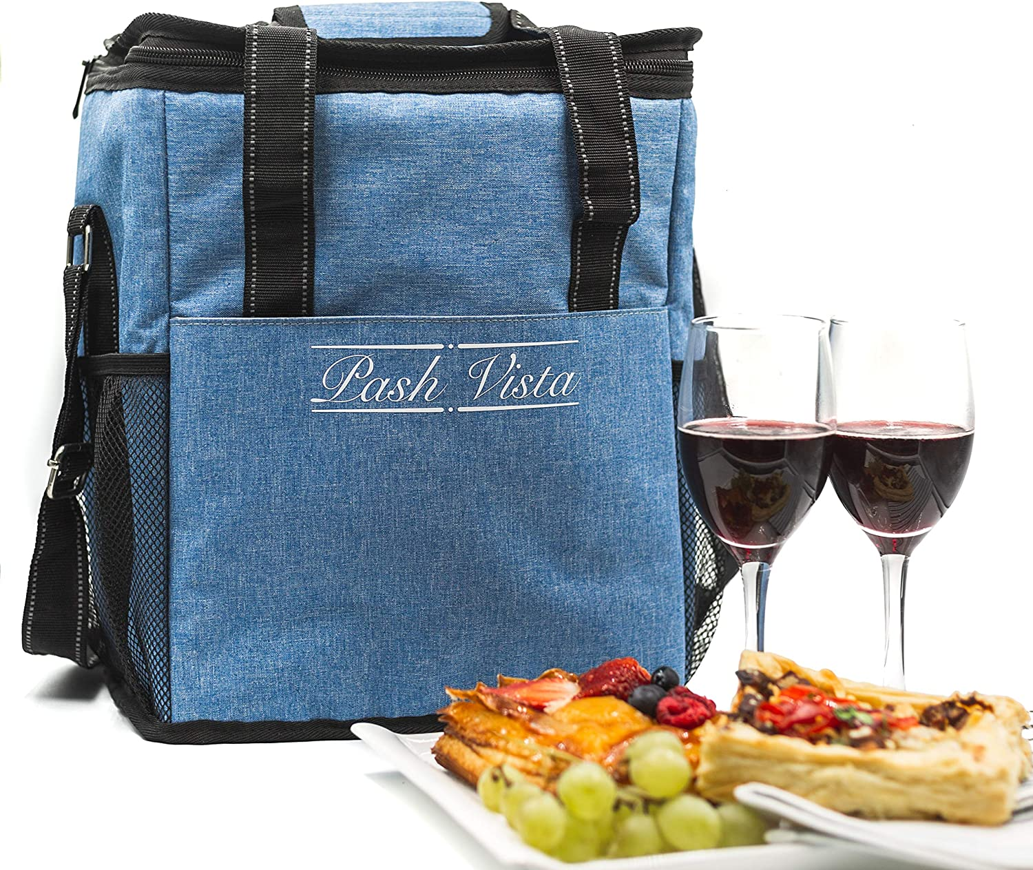 Pash Vista 6 Bottle Insulated Wine and Grocery Carry Bag with Adjustable Strap and Handle, Versatile Padded Wine Cooler Tote, Blue, Quality and Value