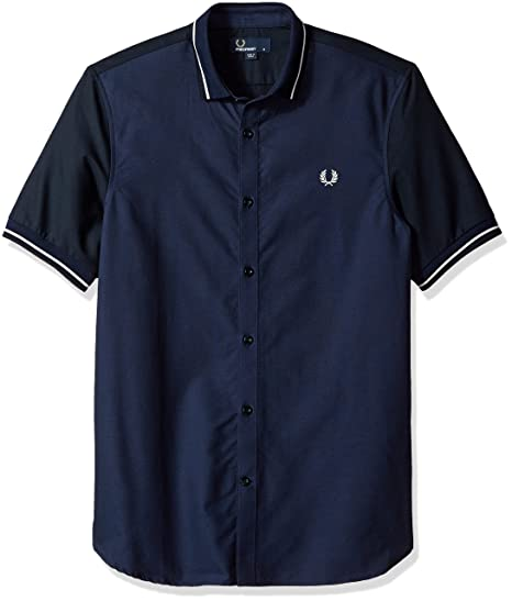 FRED PERRY MENS CLASSIC OXFORD MENS NAVY SHORT SLEEVE SHIRT
