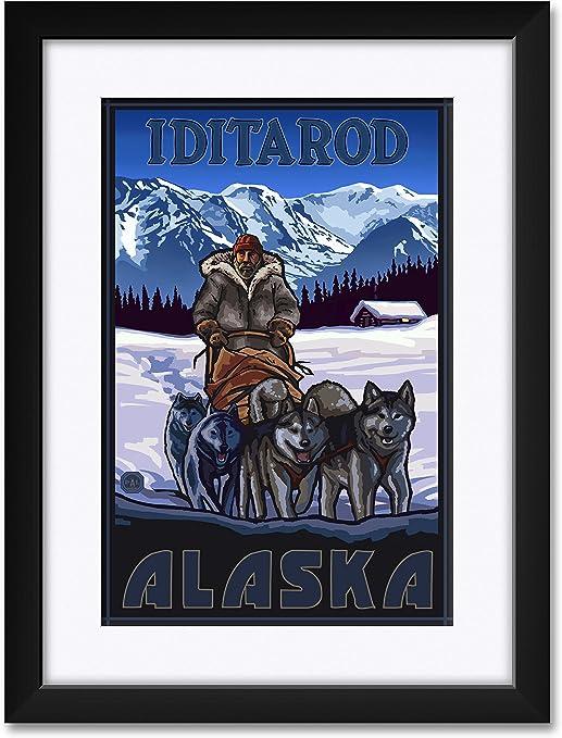 Iditarod Alaska Sled Dogs Travel Art Print Poster by Paul A 12 x 18 Lanquist