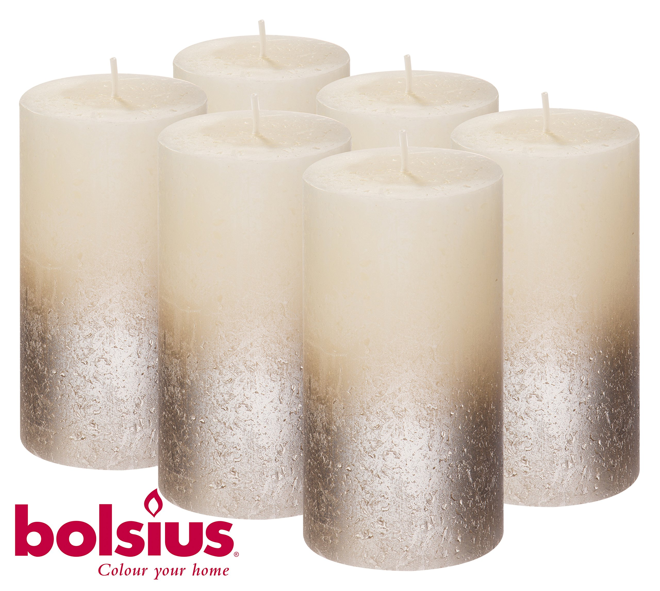 Bolsius SET OF 6 Rustic Metallic Unscented Pillar Candles With Silver Coated Bottom 130/68mm (Aprox. 5 X 2.75 Inches) (Ivory/Silver)