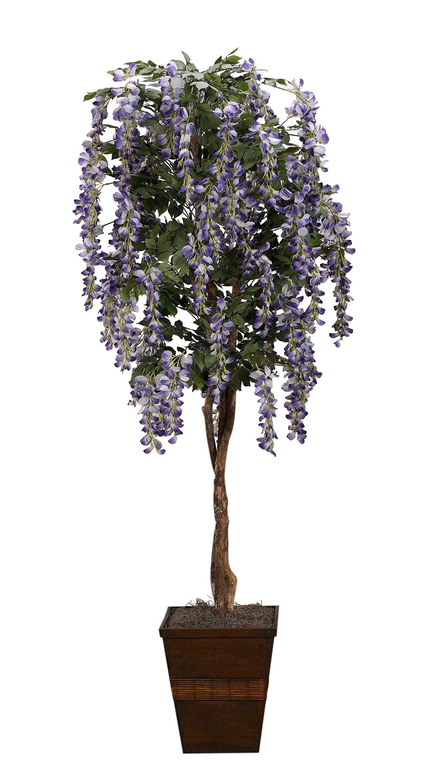 D & W Silks 317112 Lavender Wisteria Tree in Square Wood Planter, Purple/Brown