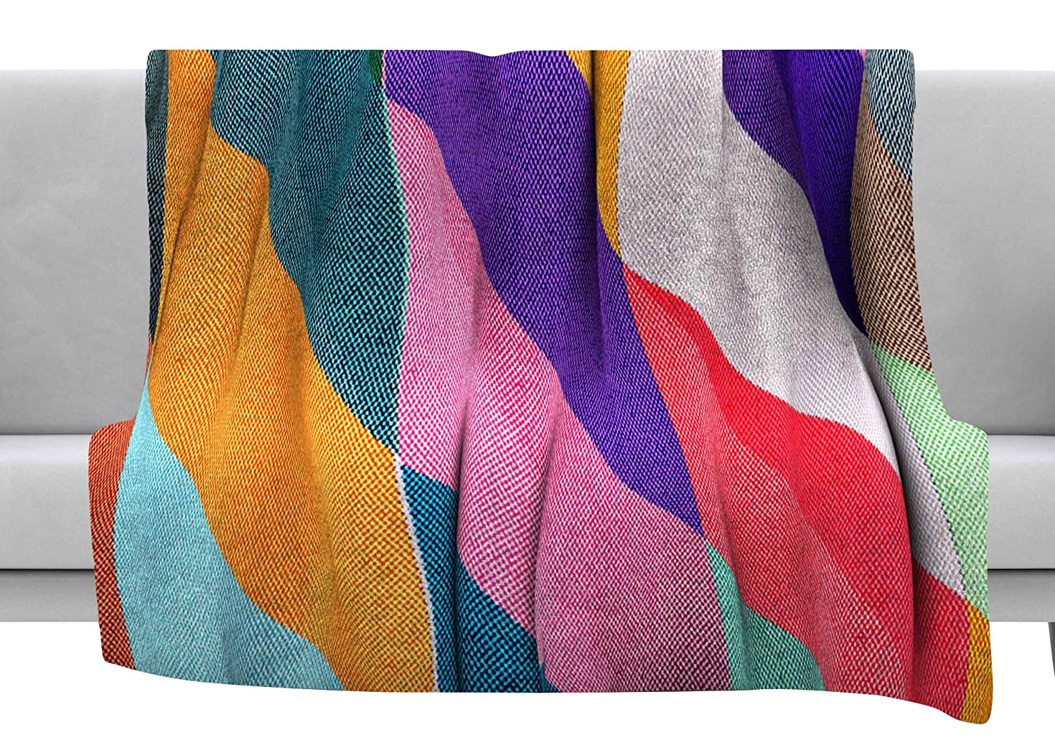 Kess InHouse Danny Ivan Timeless Texture Stripes Multicolor Throw 80 x 60 Fleece Blanket