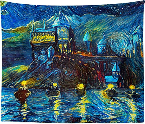westlake art – Starry Night Castle Night Boats – Wall Hanging Tapestry – Abstract Artwork Home Decor Living Room – 51×60 Inch