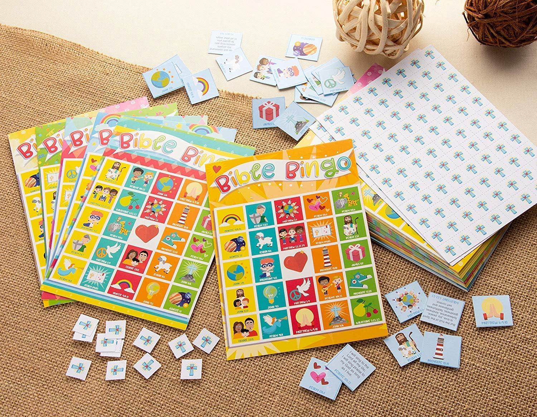 Paquete de juego de bingo de la Biblia – Juego de 36 juegos de suministros de educación bíblica cristiana para niños, kit de actividades de 2 a 36 multijugador, versión de escritura