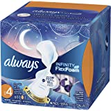 Whisper Always Infinity Overnight Pads with Wings (Size 4), Unscented, 14ct