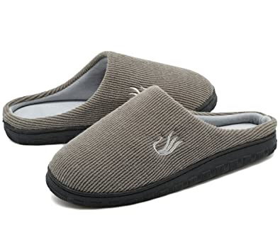 Hombre On Memory Foam Cushioned Slip On Hombre Rubber Sole Mule Slippers 52479e