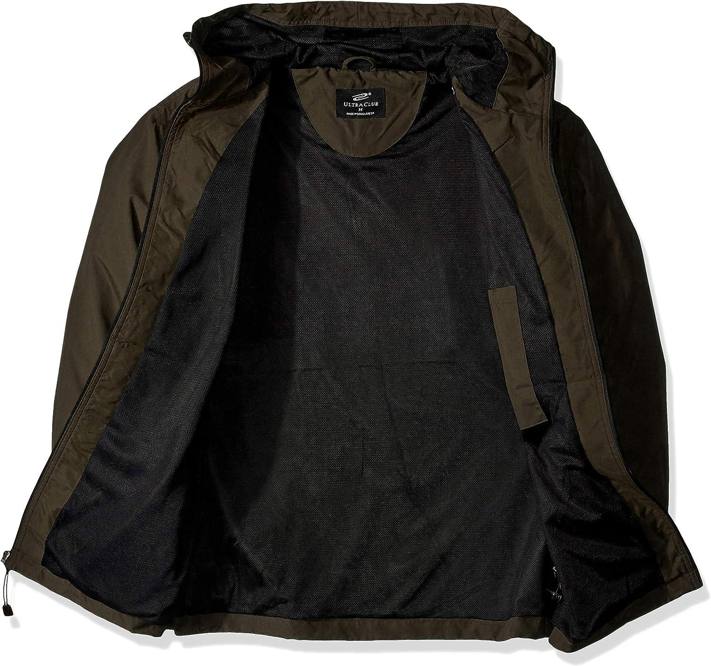 Olive Large RETOV Mens Microfiber Hooded Zip-Front Jacket