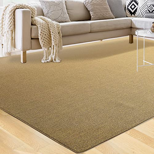 iCustomRug Savannah Synthetic Sisal Rug, Looks Like Natural Sisal Rug Only Softer and More Durable with Serged Edges in Gold 8 6 x 12