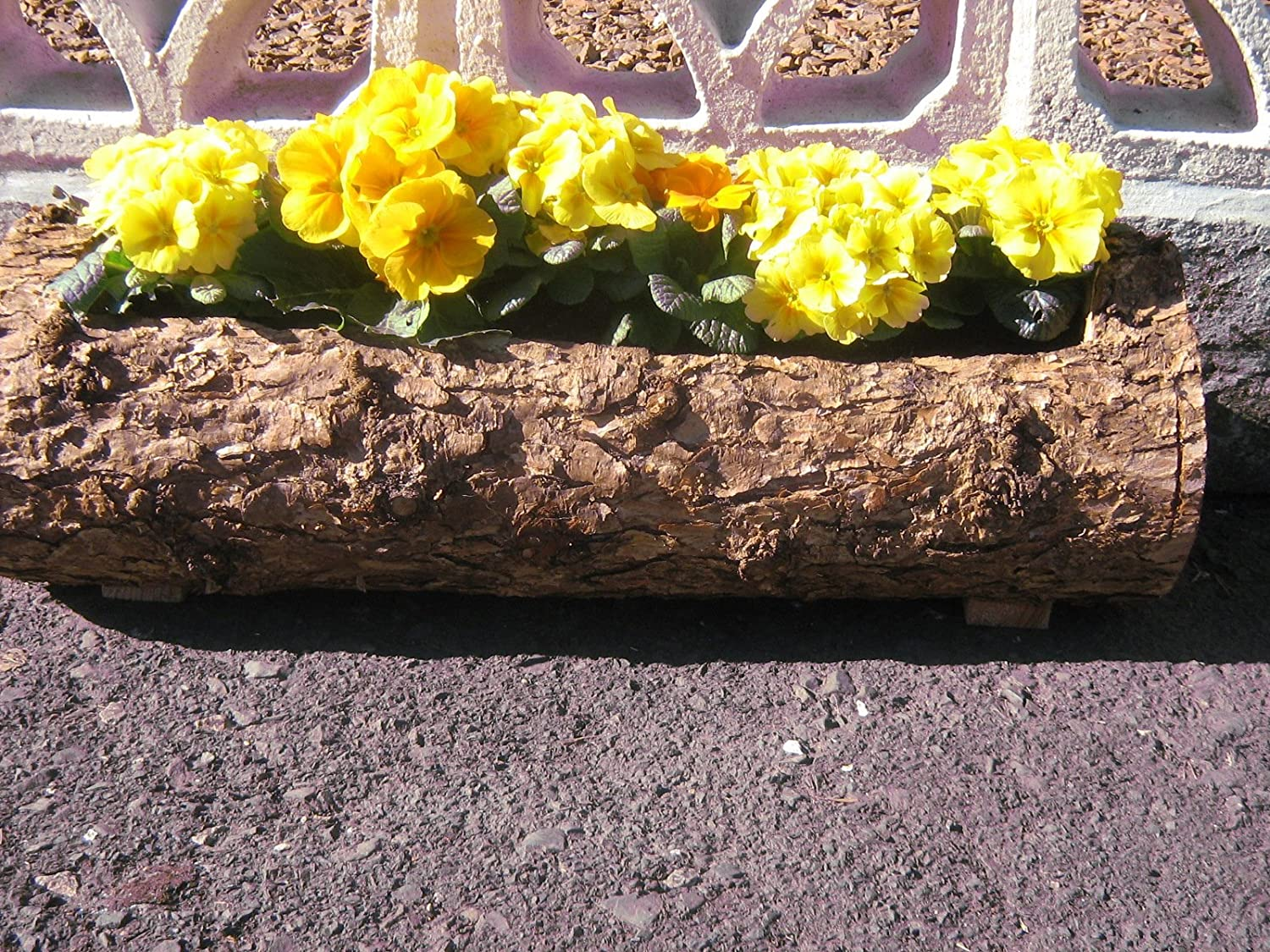 Dalrymple Woodcraft Planter Wooden Larch Log Natural Window Box Bark-Retained 75 cm