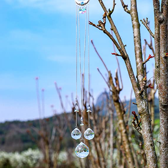 H/&D Kristall Regenbogen Sonnenf/änger Metall Mond mit Nazar Perlen Anh/änger Glas Blau B/öse Auge Dekor