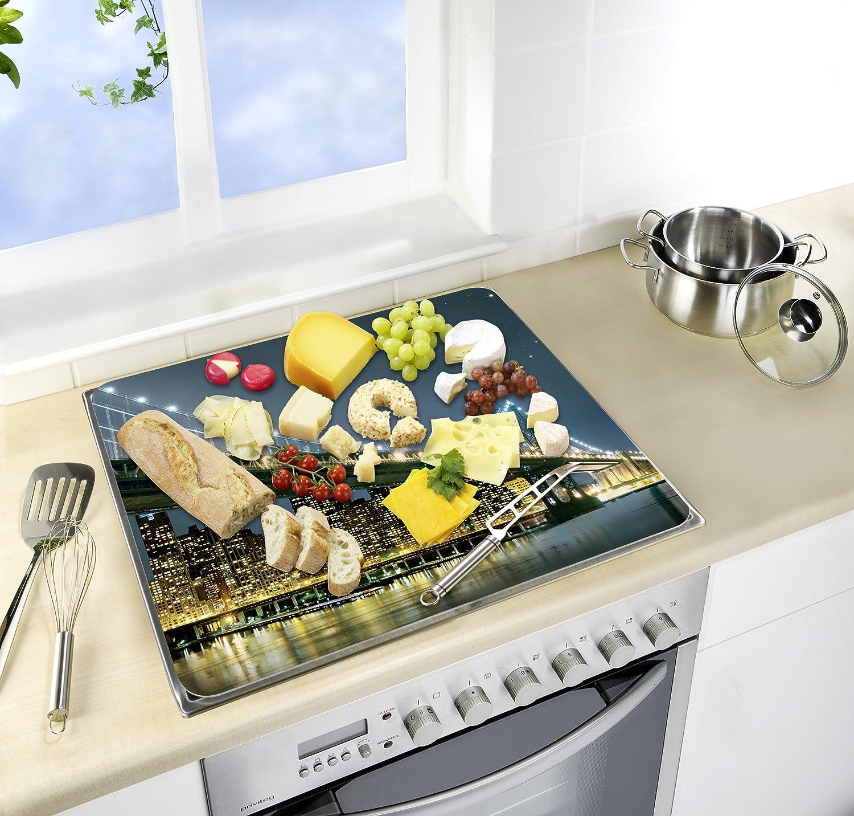 Wenko Cubre Vitro Menu para Cocinas de Vitrocerámica, Vidrio, Multicolor, 56x50x4.5 cm