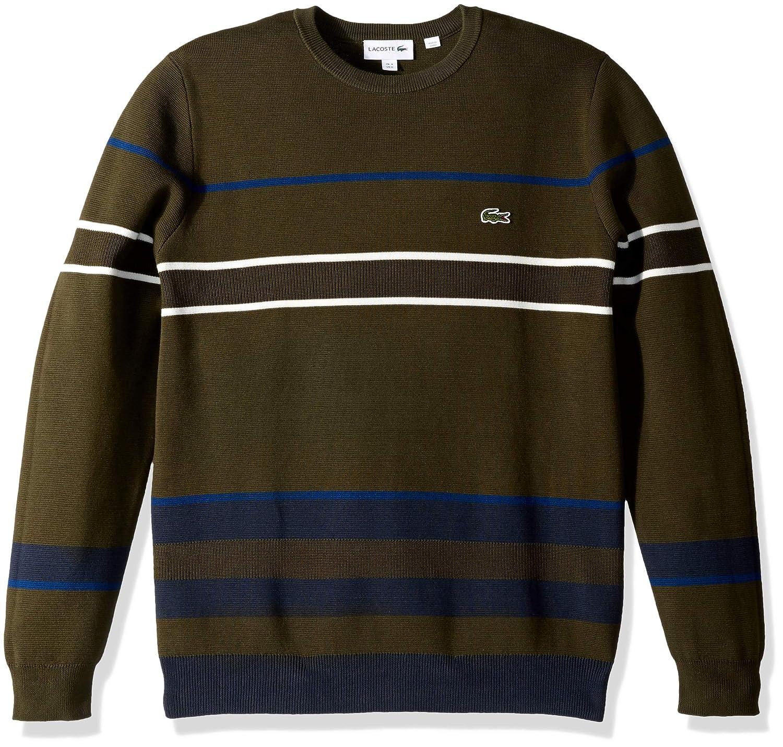 07883ea336 Lacoste Men's Long Sleeve Striped Colorblock Crewneck