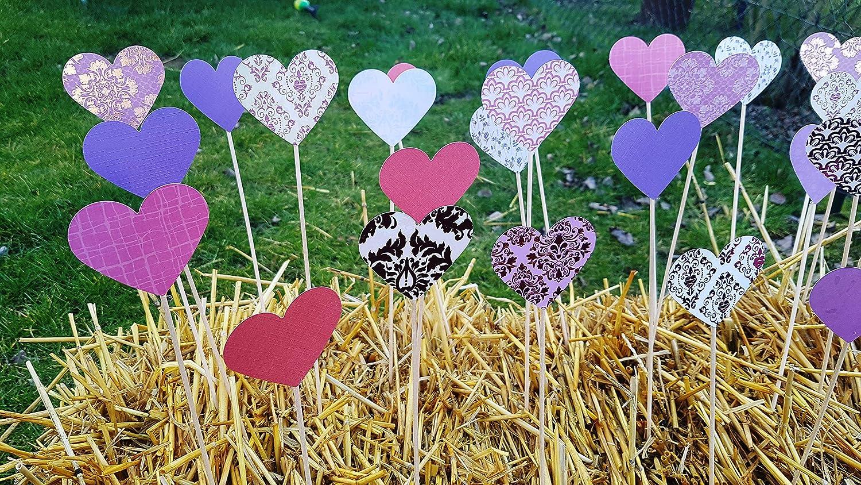 Herzstecker//Steckherzen//Spalierherzen Kollektion vintage purple 50 St/ück Hochzeitsdekoration