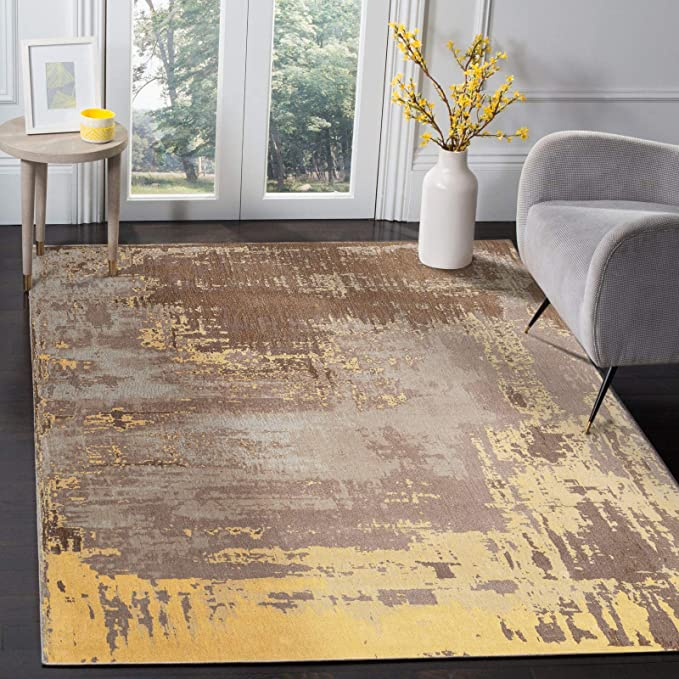 Motini Modern Contemporary Abstract Area Rug 5 X 7 Brown Gold Grey Yellow Area Rug For Living Room Kitchen Dining Amazon Com
