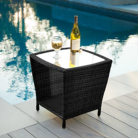 Easton Outdoor Black Wicker Accent Table