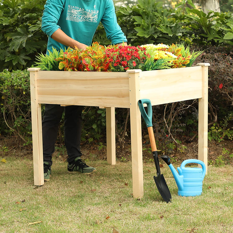 "PHI VILLA Raised Garden Bed Elevated Planter Box for Vegetable/Flower/Fruit/Herb (35""x35""x31.9"")"