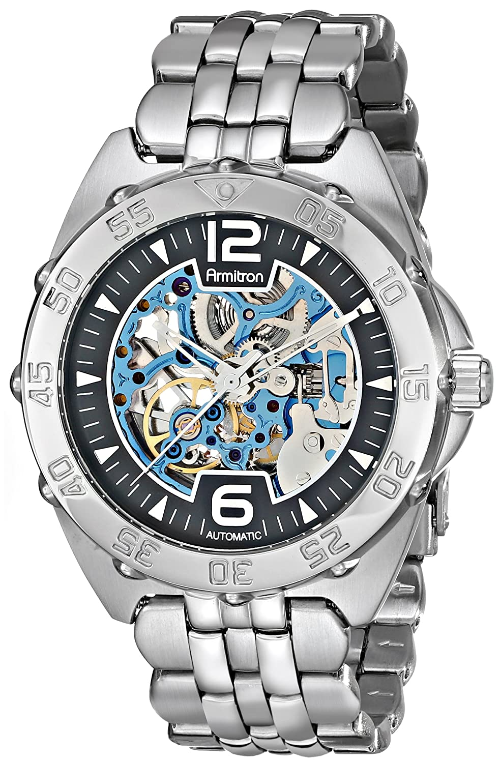 Armitron Herren 20-4768BISV Automatic Silver-Tone and Blue Accented Dress Uhr