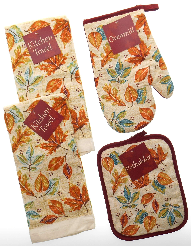 Harvest Autumn Leaves Kitchen Towel Set. Bundle of 4 Includes 2 Towels, 1 Oven Mitt and 1 Pot Holder .Fall Kitchen Towels Set