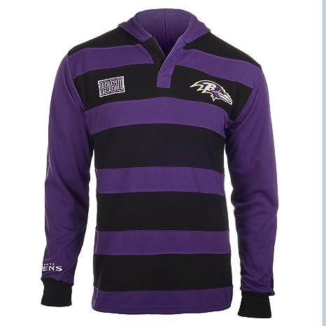 ea931d9ea1 Baltimore Ravens NFL KLEW Men's Striped Rugby Pullover Hoodie, Black/Purple  (Black /
