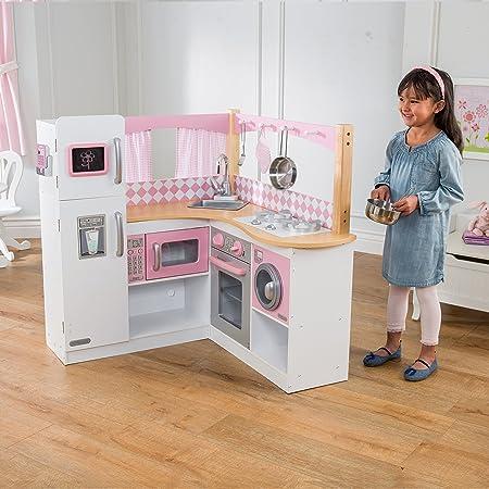 KidKraft Vintage Wooden Play Kitchen Pink Cooking Playtime ...
