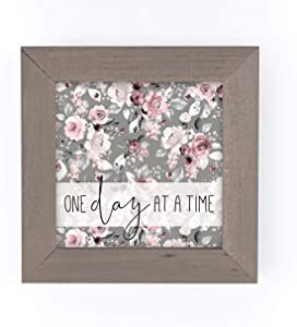 P. Graham Dunn One Day at A Time Grey Floral 5 x 5 Pine Wood Driftwood Framed Art Sign