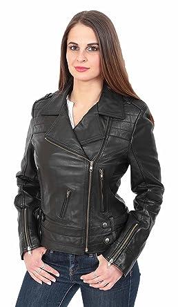 Neueste Young Damen Fitted Leder Leder Biker X-Zip Mode Jacke Beverly  Schwarz (S 3d02ca7e78