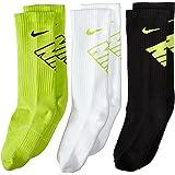 Nike Kid`s 3 pair Dri Fit Half Cushion Crew Socks 977 Size Small