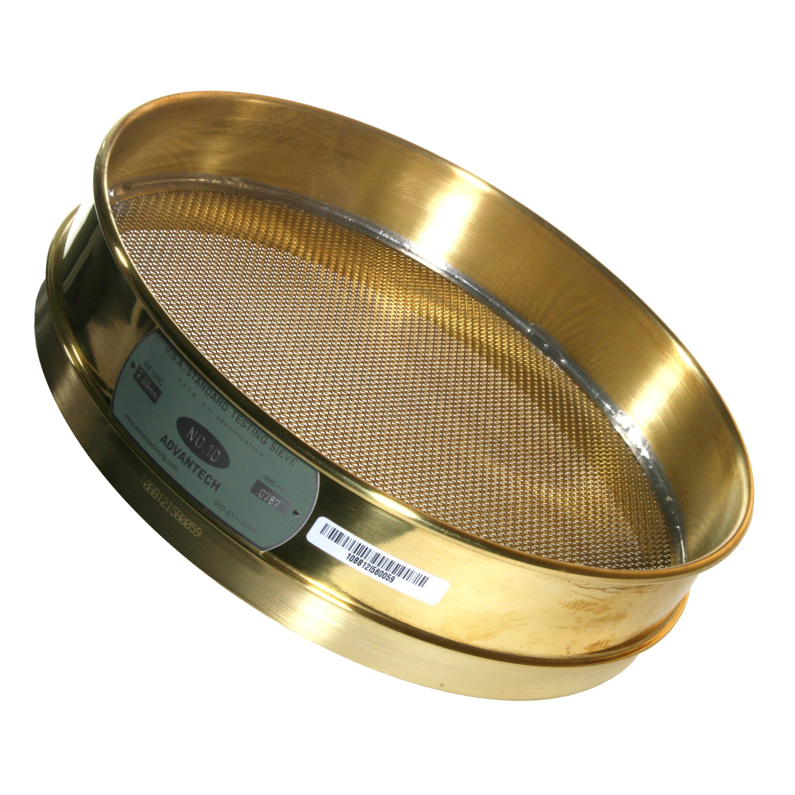Advantech Brass Brush Sieves, 12'' Diameter, #10 Mesh, Full Height