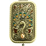 Ivenf Antique Vintage Square Compact Purse Mirror Wedding / Christmas / Birthday Gift, Peacock Spreading Tail, Bronze