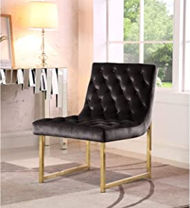 Chic Home Tatiana Tufted Velvet Upholstery Plush Cushion Brass Finished Accent Chair Black