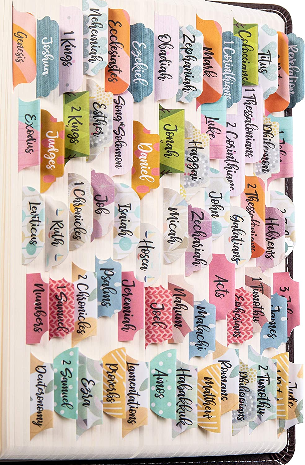 Large Print, Easy to Read 66 Tabs for Old and New Testament Personalized Bible Journaling Supplies 120 Bible Index Tabs in Total Farmhouse Theme Laminated Bible Tabs Additional 54 Blank Tabs