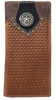 Western Men Brown Genuine Leather Ostrich CowFur Metal Emblem Tooled Long Wallet