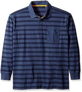 93d39ff2 Amazon.com: Nautica Men's Big and Tall Striped Long Sleeve Polo Shirt, Mood  Indigo 4X-Large: Clothing