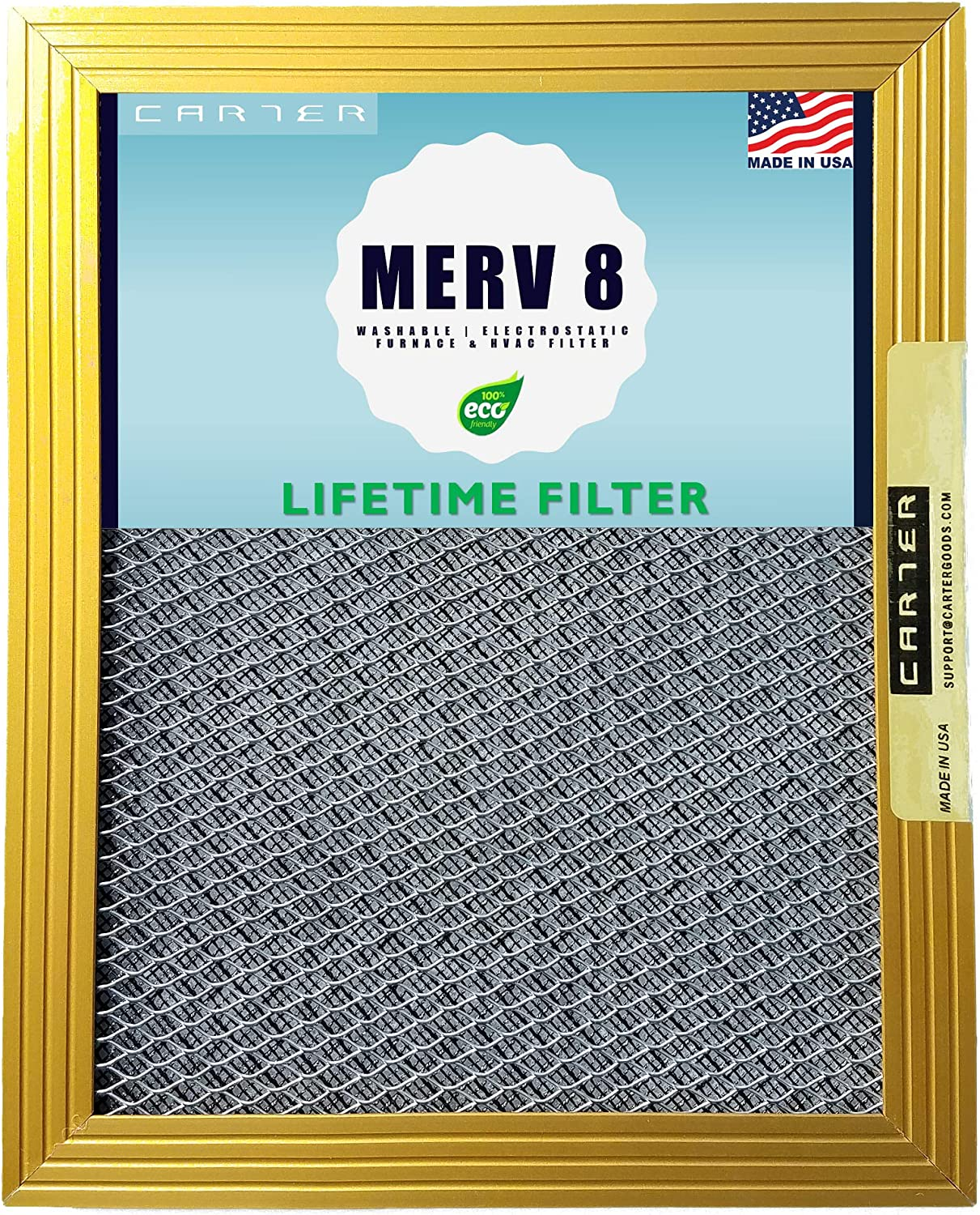20x20x1 CARTER | MERV 8 | Lifetime HVAC & Furnace Air Filter | Washable Electrostatic | High Dust Holding Capacity | Never buy another filter