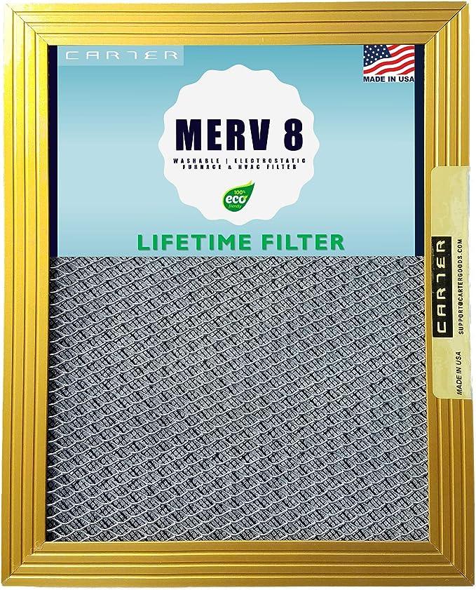 20x25x1 CARTER | MERV 8 | Lifetime HVAC & Furnace Air Filter | Washable Electrostatic | High Dust Holding Capacity | Never buy