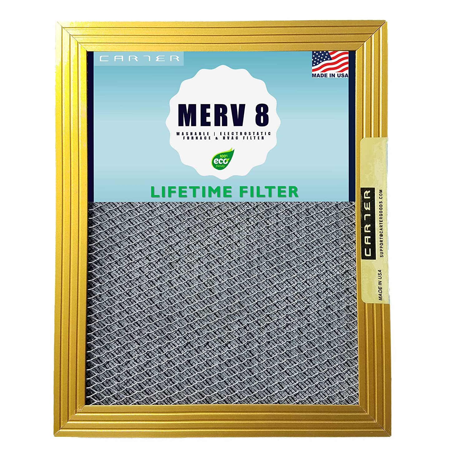 16x25x1 CARTER | MERV 8 | Lifetime HVAC & Furnace Air Filter | Washable Electrostatic | High Dust Holding Capacity | Never buy another filter