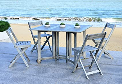 Safavieh Outdoor Living Collection Arvin 5-Piece Dining Set, Ash Grey - Amazon.com : Safavieh Outdoor Living Collection Arvin 5-Piece Dining