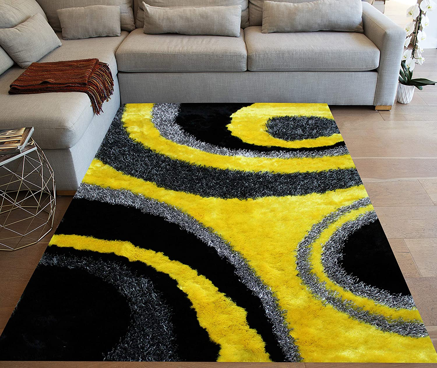 Yellow Black Gray Grey Colors 8 X10 Feet Shag Shaggy 3d Carved Area Rug Carpet Rug Indoor Bedroom Living Room Decorative Designer Modern Contemporary Plush Pile Polyester Made Canvas Backing Kitchen